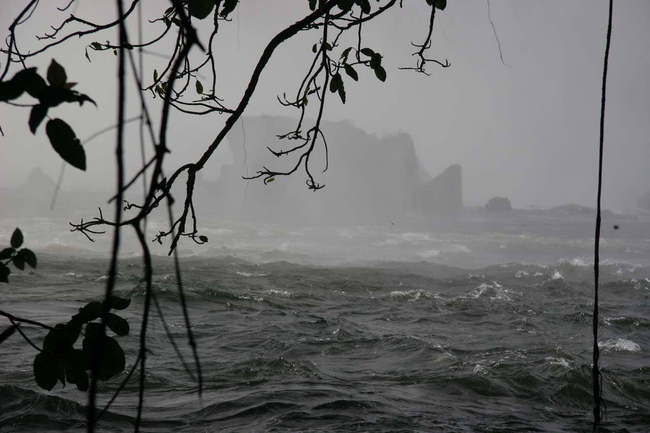 Very misty at the bottom of Lumangwe Falls