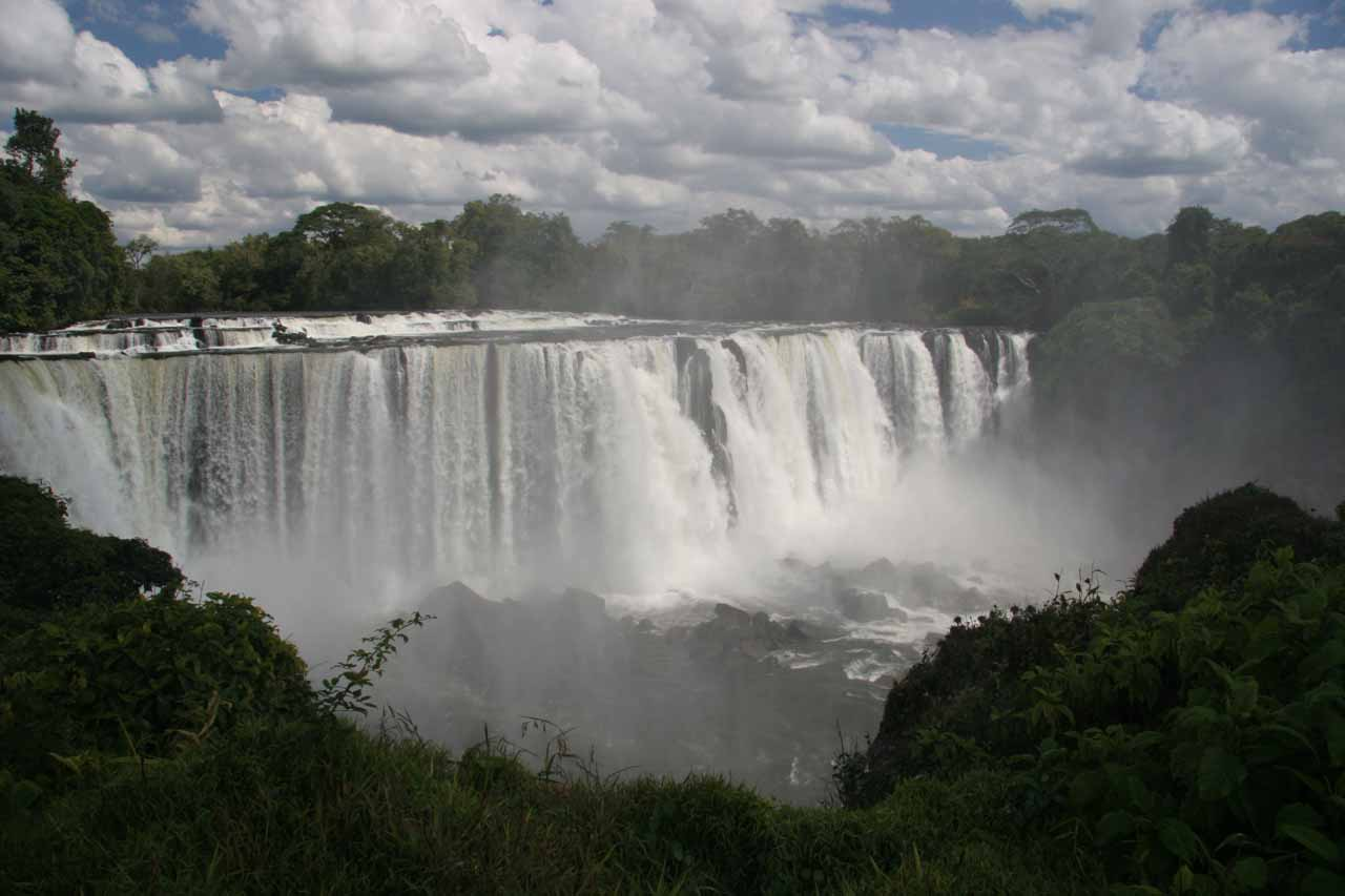Misty frontal view of the falls when the sun momentarily came out