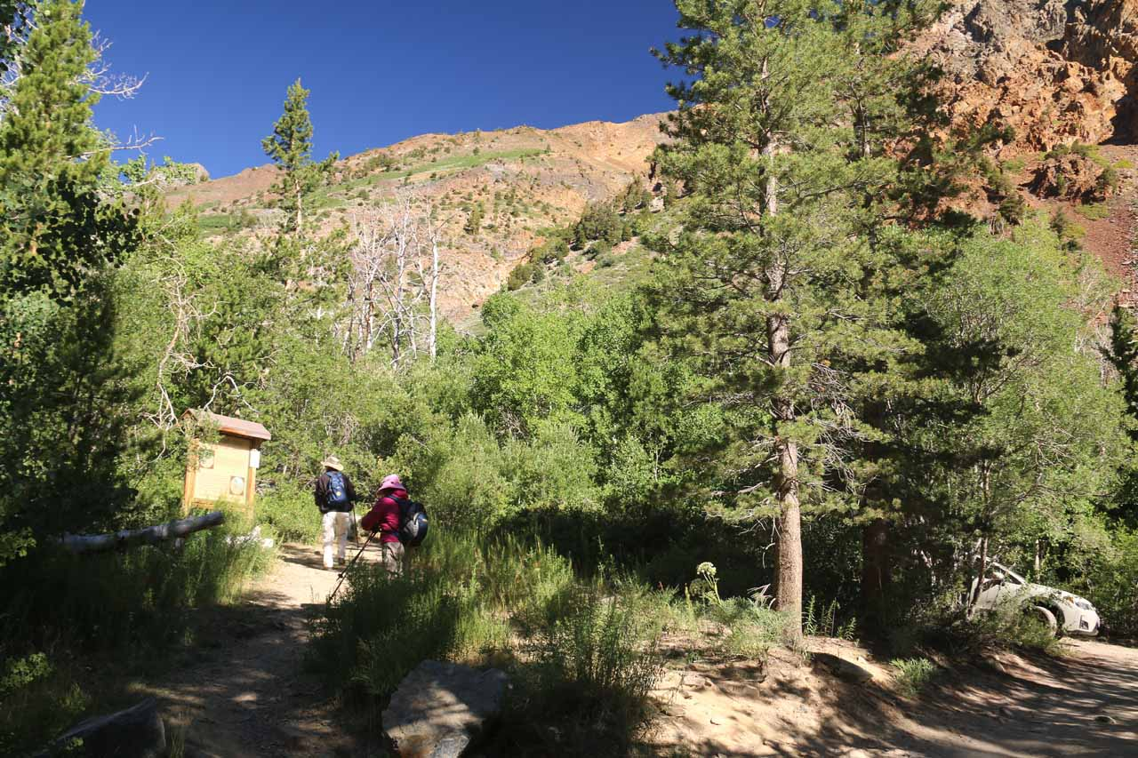At the trailhead for Lundy Canyon