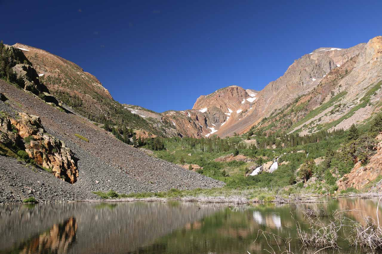 This was the gorgeous view just beyond the first junction where we got to see the context of the first Mill Creek Waterfall with Lundy Canyon reflected in the pond as well as other cascades tumbling down the canyon walls as they feed Mill Creek