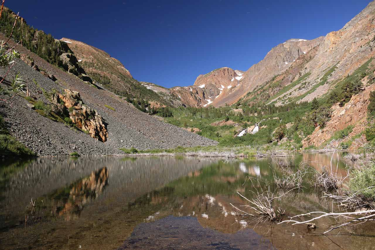 This sublime view of Lundy Canyon and some of its waterfalls over a reflective pond was one of the highlights of our Lundy Canyon Waterfalls hike