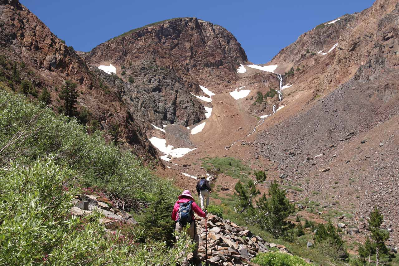At this point, our mindset was to see if it might be possible to reach the 20 Lakes Basin as a day hike, but as the trail continued climbing on looser talus slopes, it was taking a bit more out of us