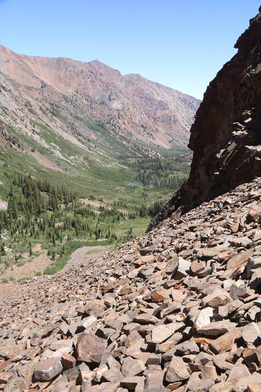 Looking downslope from the futile talus scramble that I embarked on