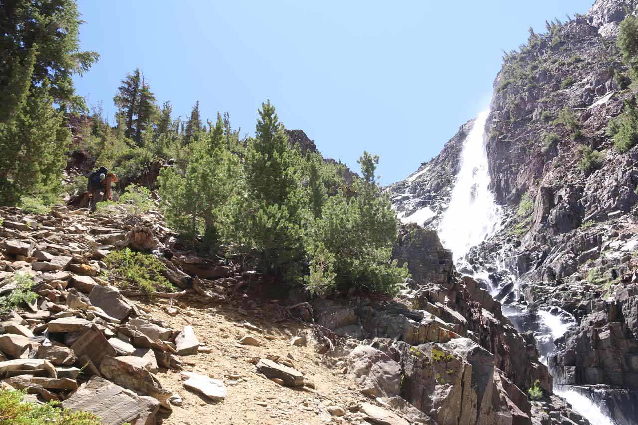 There was a pair of backpackers determined to go to the 20 Lakes Basin who decided that this steep slope was where they should continue their ascent.  It looked a bit too steep for our liking so we were content to enjoy this waterfall before turning back