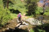 Lundy_Canyon_460_07112016 - Mom traversing the log-assisted crossing of Mill Creek by the second waterfall on the creek