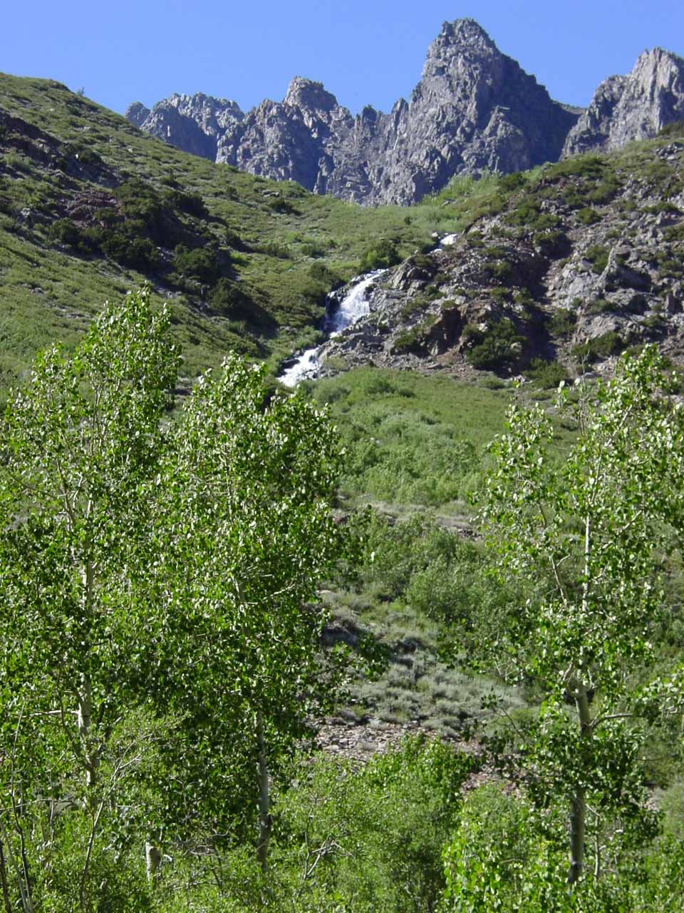A cascade tumbling down the mountainside