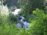 Lundy_Falls_014_07052002 - Looking directly at a cascade on Mill Creek near a bridge. I considered this to be the second major Lundy Canyon Waterfall on Mill Creek