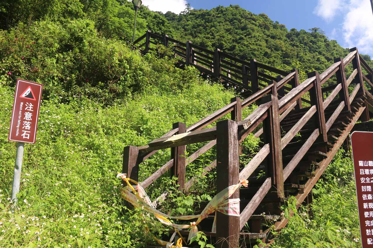 The wooden path leading up to an OK view of Luoshan Waterfall was actually closed due to rockfalls and wood rot