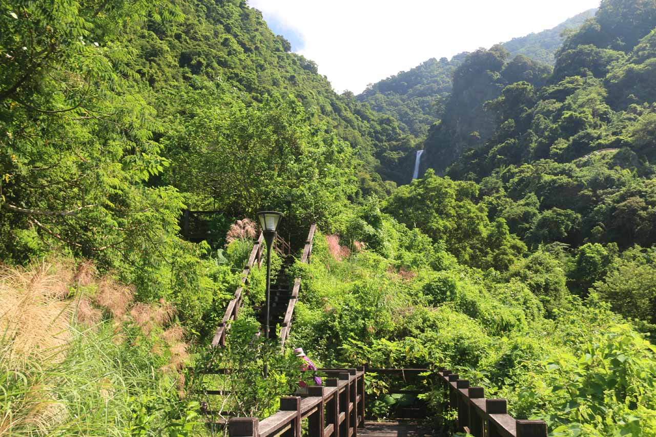 Continuing up along the rotted wooden path to get a little bit closer to the Luoshan Waterfall