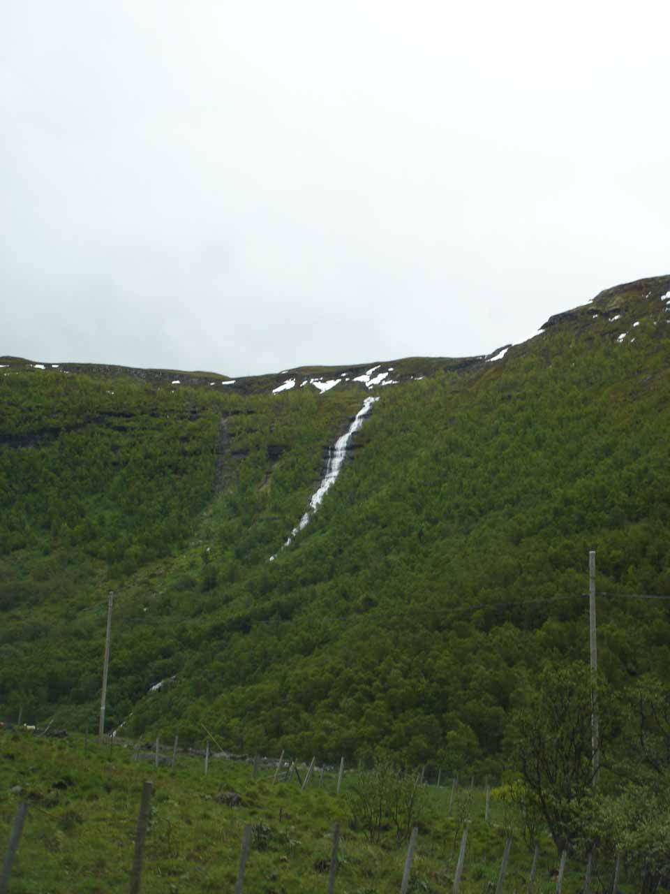 Angled view of some waterfall as we made our way towards Skjolden from Turtagrø