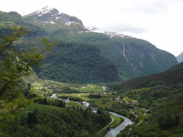 Lustrafjorden_005_jx_06282005 - The road between Skjolden and Utladalen involved driving the steep and winding Fv55, which entered the scenic Fortundalen just up the mountains from Skjolden