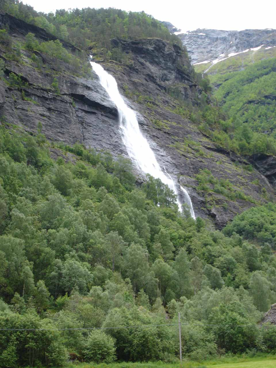 Angled view of Vassbakkfossen as we were approaching it from the east