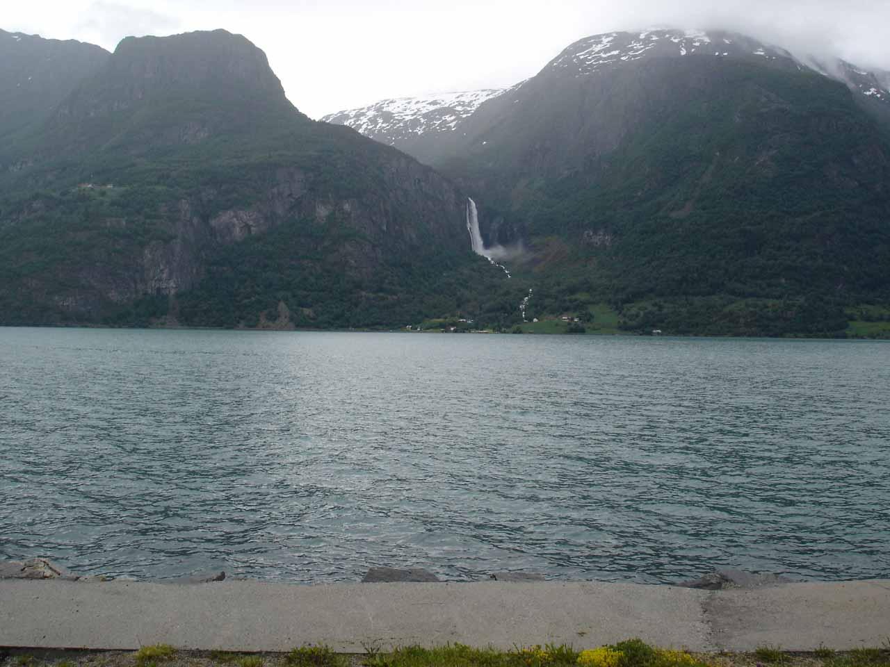 Broad look across Lustrafjorden towards Feigefossen as we were driving towards Jostedalen from Skjolden