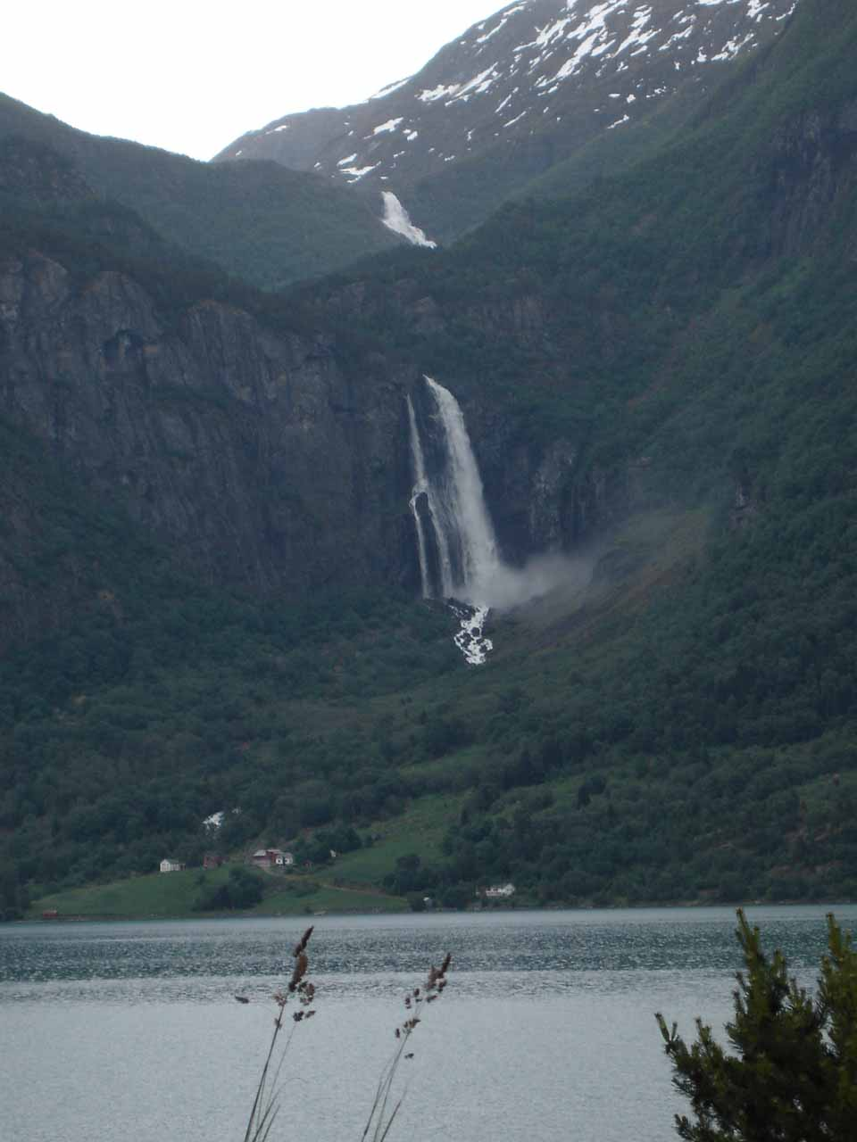 Another look across Lustrafjorden towards Feigefossen, but notice there was another upper tier of the waterfall higher up the mountain