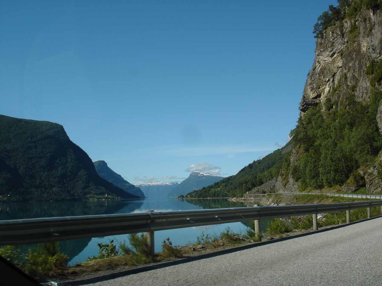 Lustrafjorden seen en route to Kvinnafossen along the narrow county road 55