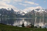 Lyngen_Alps_257_07072019 - The familiar reflective Grand Tetons-like scenery of the Lyngen Alps backing the Lyngen Channel