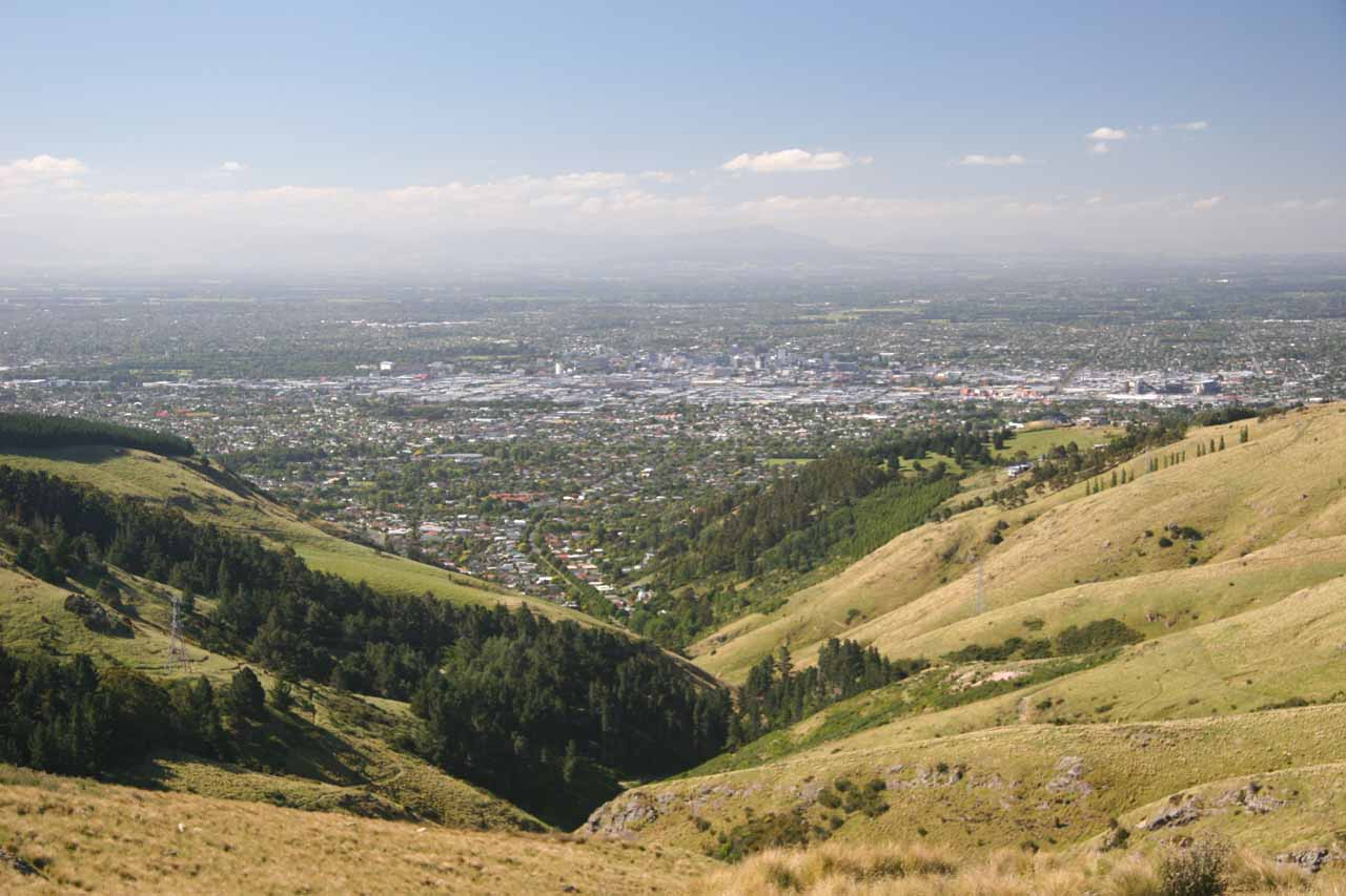 Julie and I also drove towards the town of Lyttleton, where we got this commanding view towards Christchurch on the way
