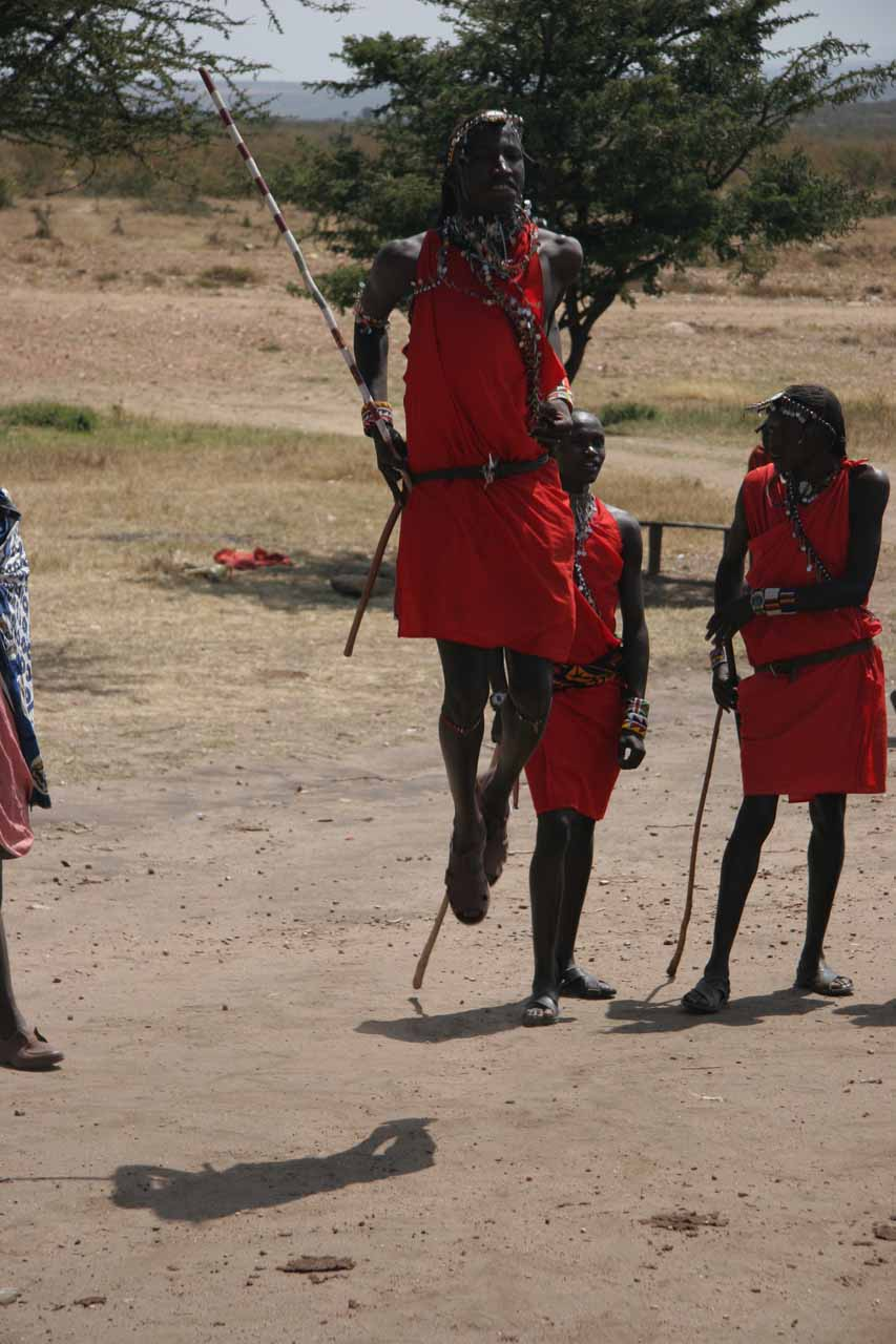 Maasai men doing the Maasai dance