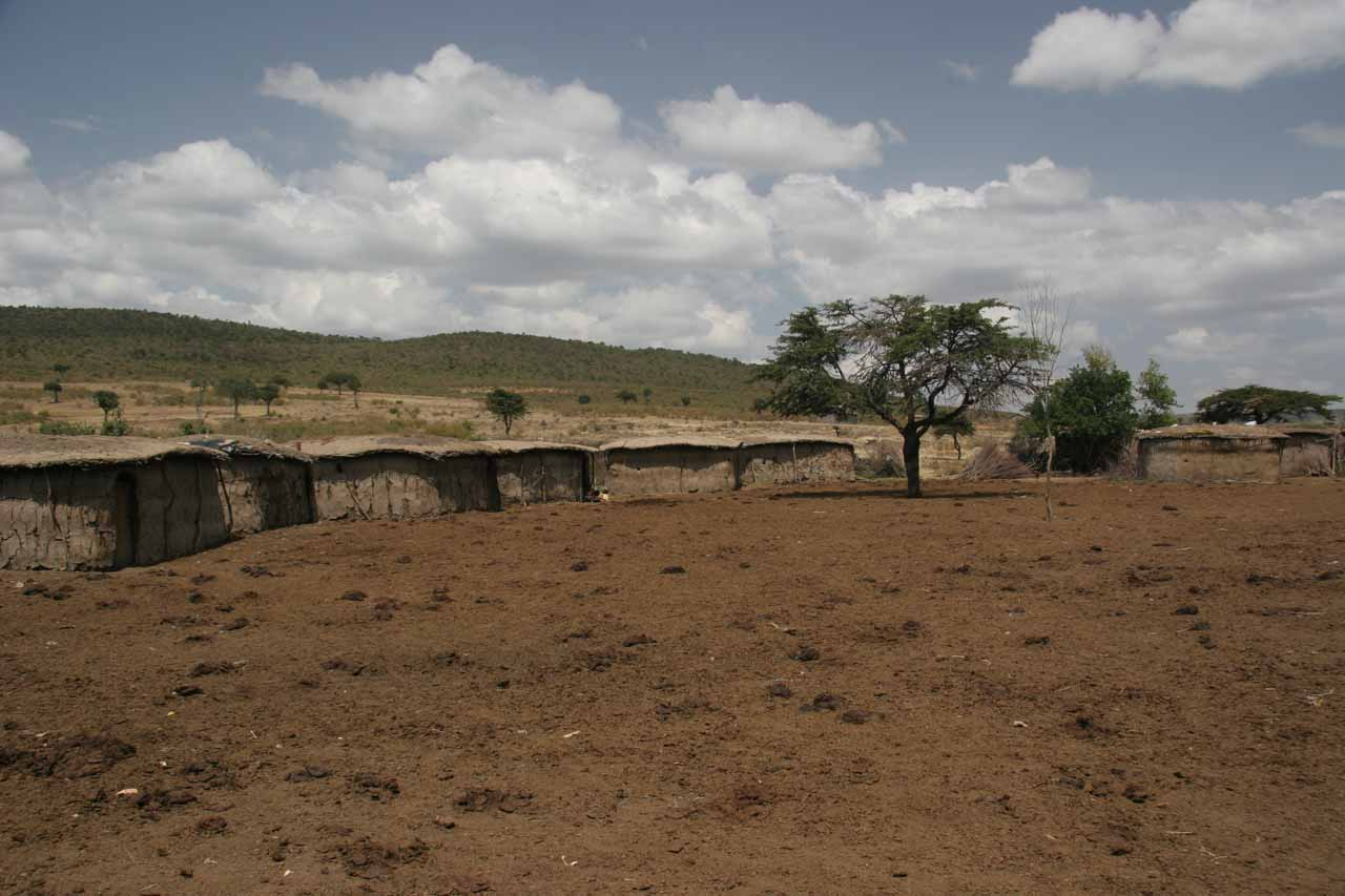 The Maasai houses with cattle park