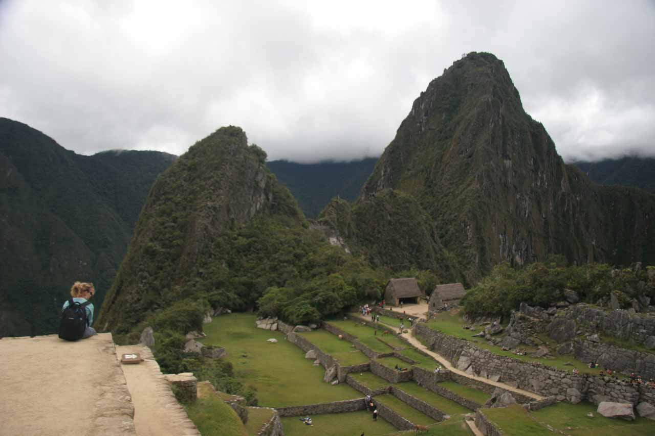 Looking down at the impressive Incan ruins with Huayna Picchu backing the scene