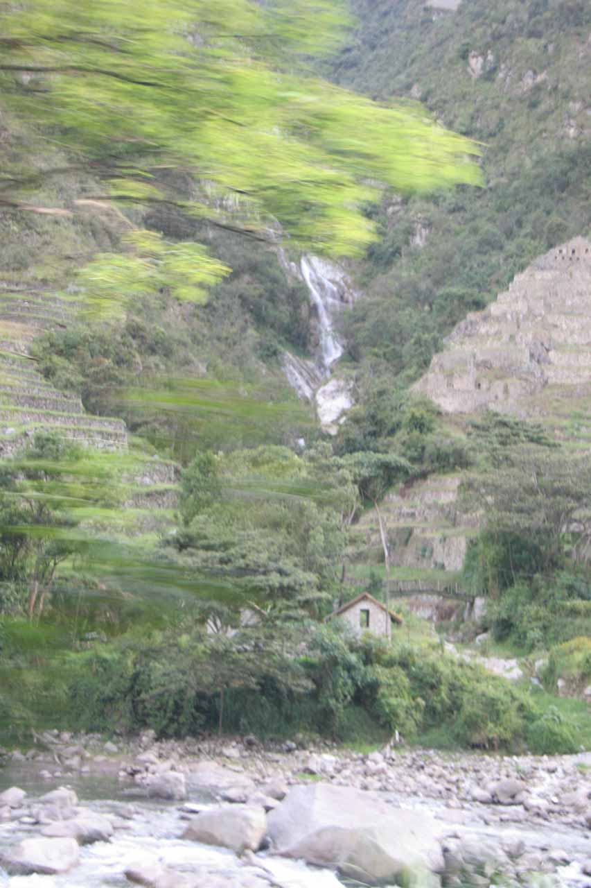 The best shot I could get of the so-called 'Machu Picchu Waterfall' from the train