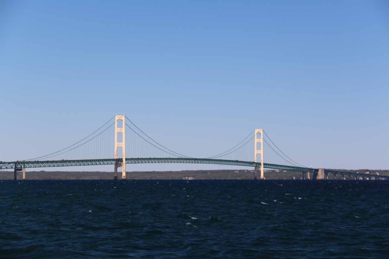 Looking towards the impressive Mackinac Bridge from the ferry