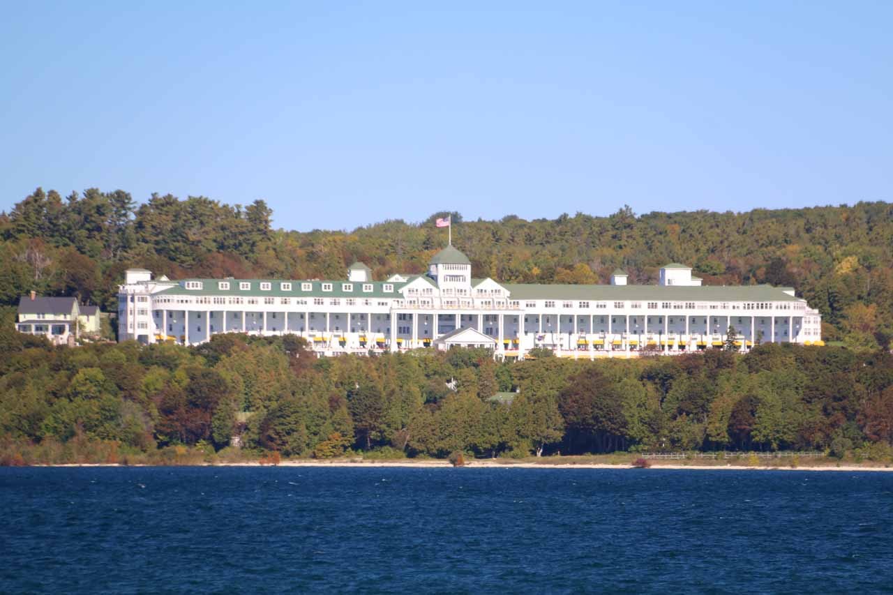 Looking towards an impressive mansion as we were approaching Mackinac Island