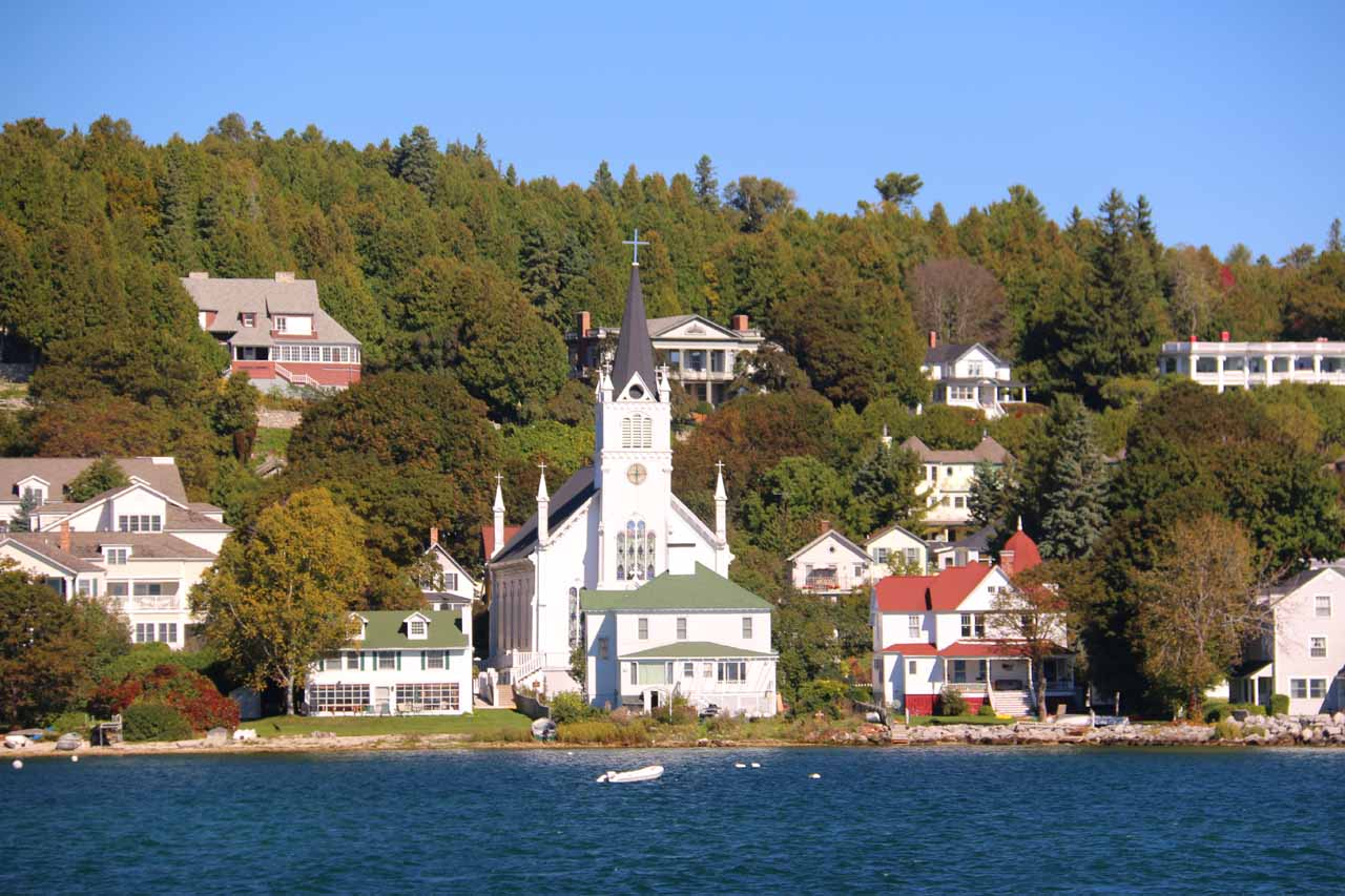 Some charming buildings on Mackinac Island seen shortly before we were about to dock