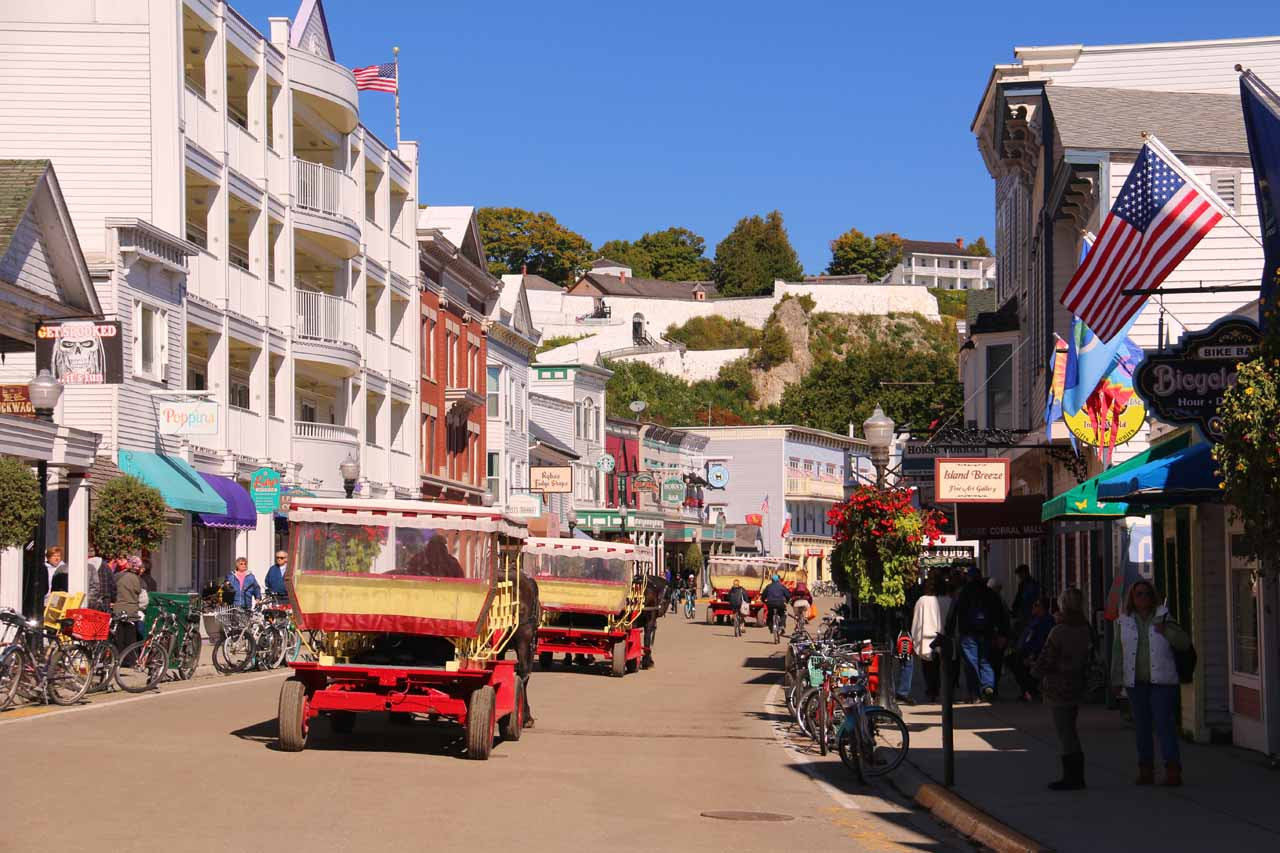 The charming throughfare as we were exploring downtown Mackinac Island