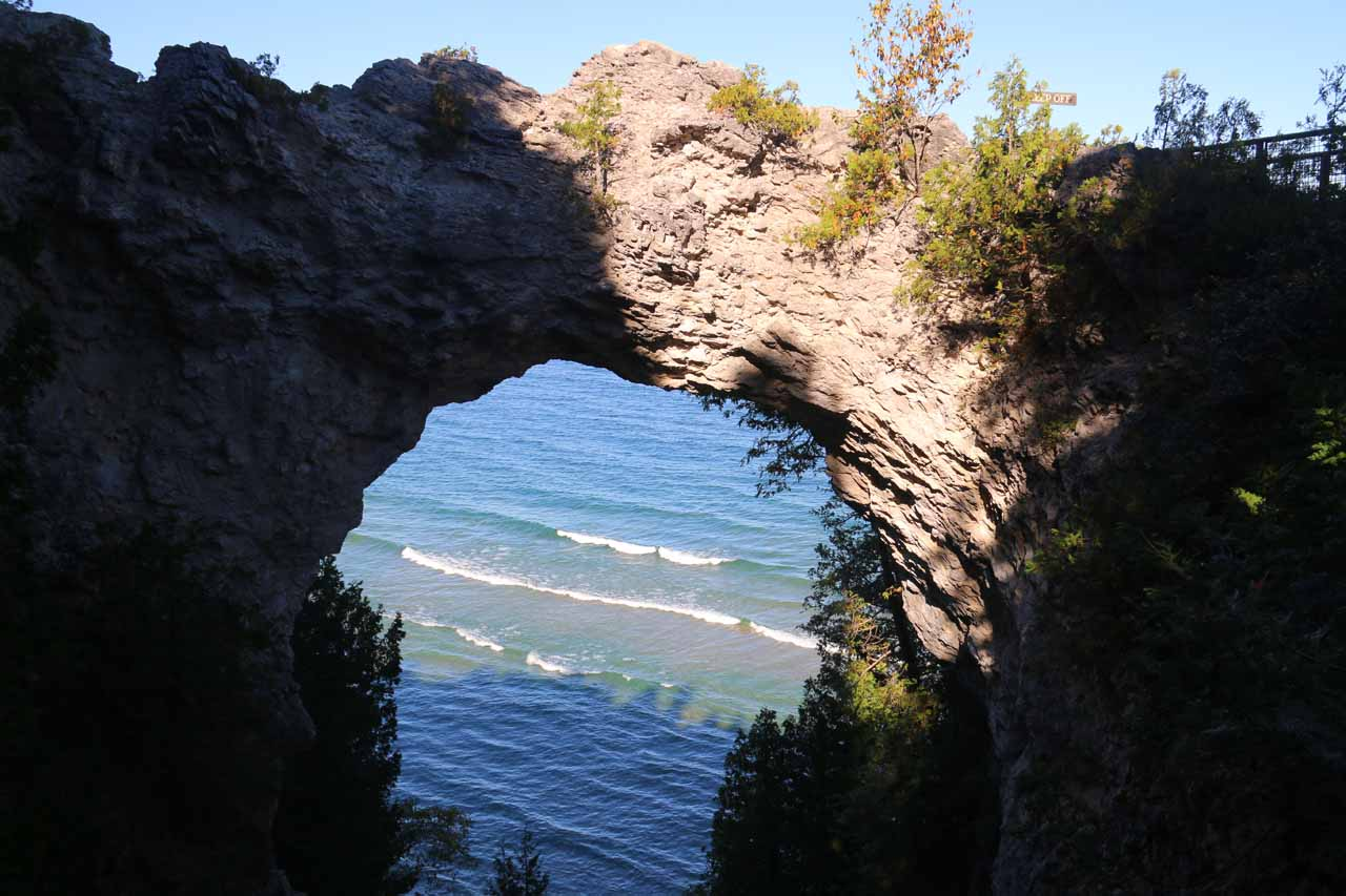 The impressive Arch Rock on Mackinac Island