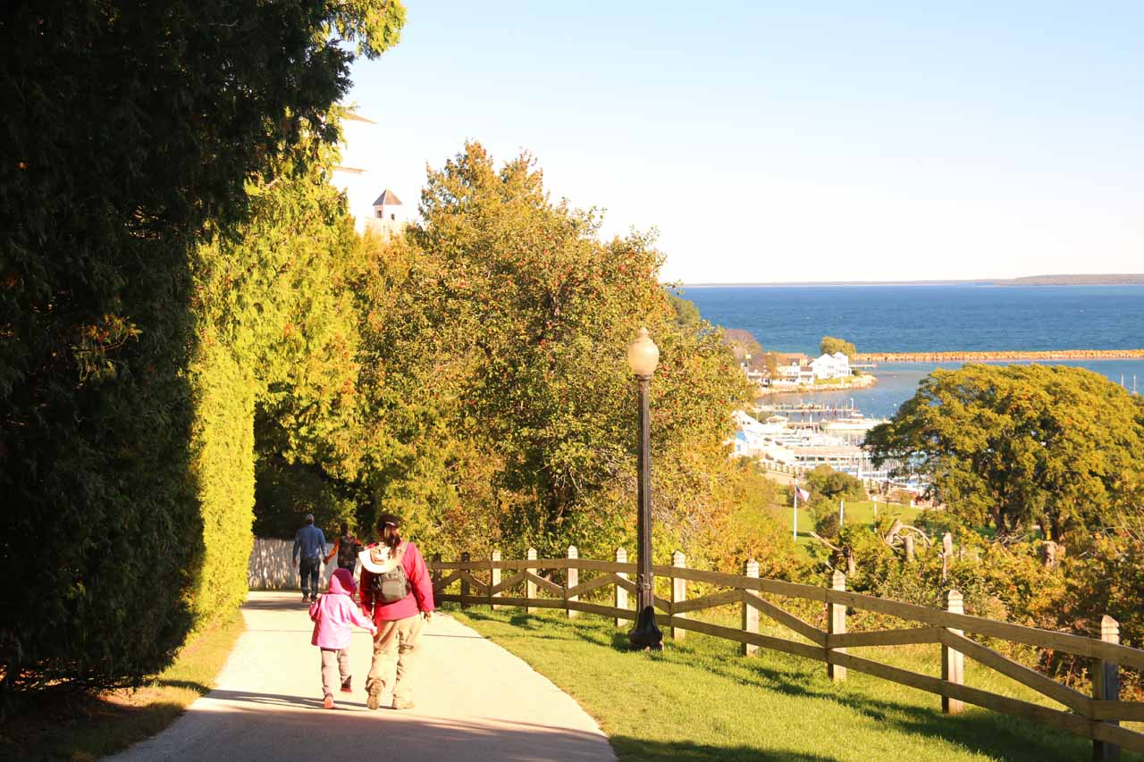 Julie and Tahia making the descend to the downtown of Mackinac Island