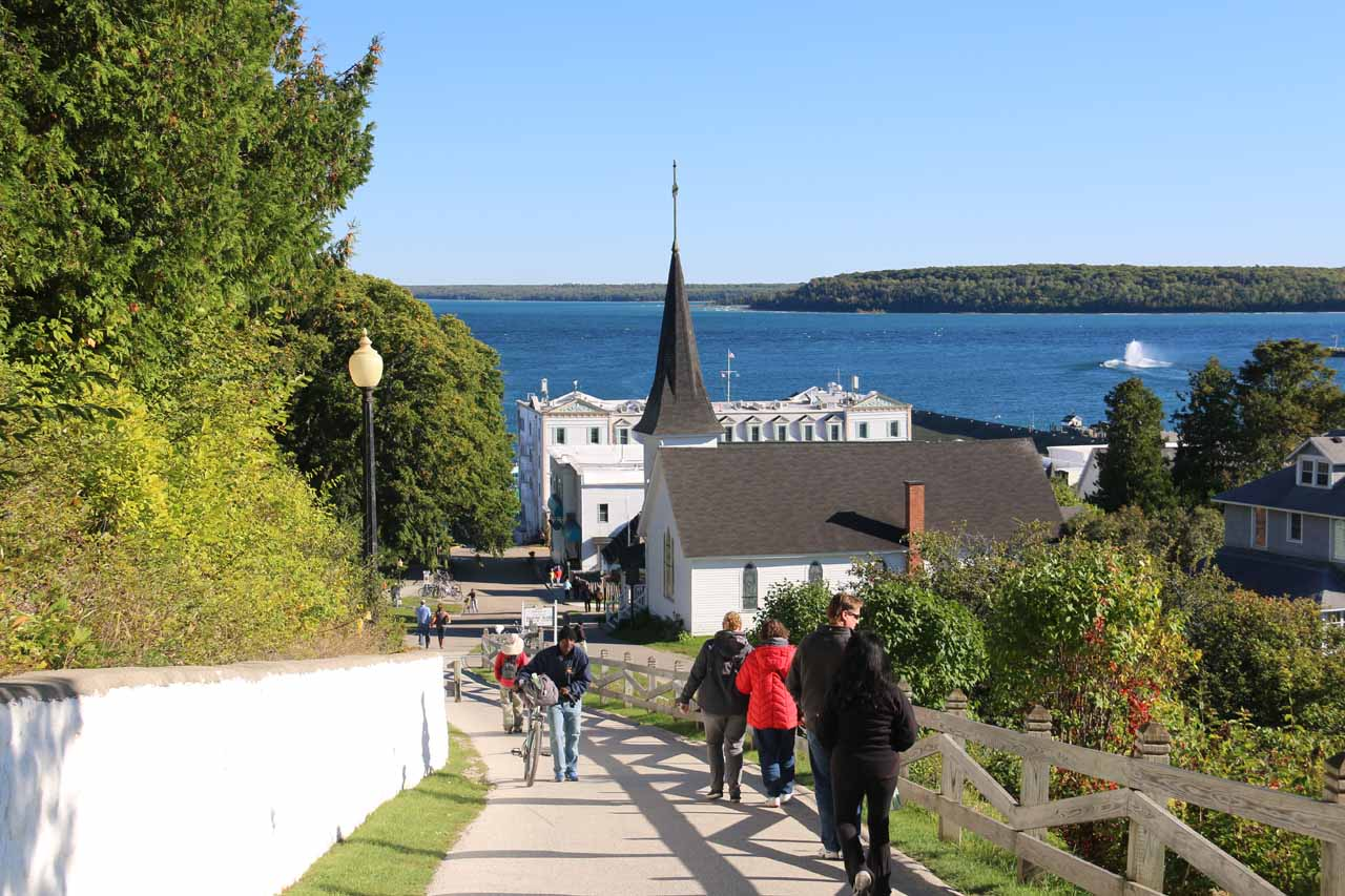 Getting closer to the bottom of the hill as we were approaching downtown Mackinac Island