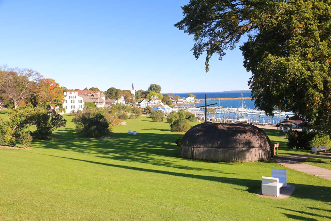 Looking across an attractive park towards the far eastern part of downtown Mackinac Island