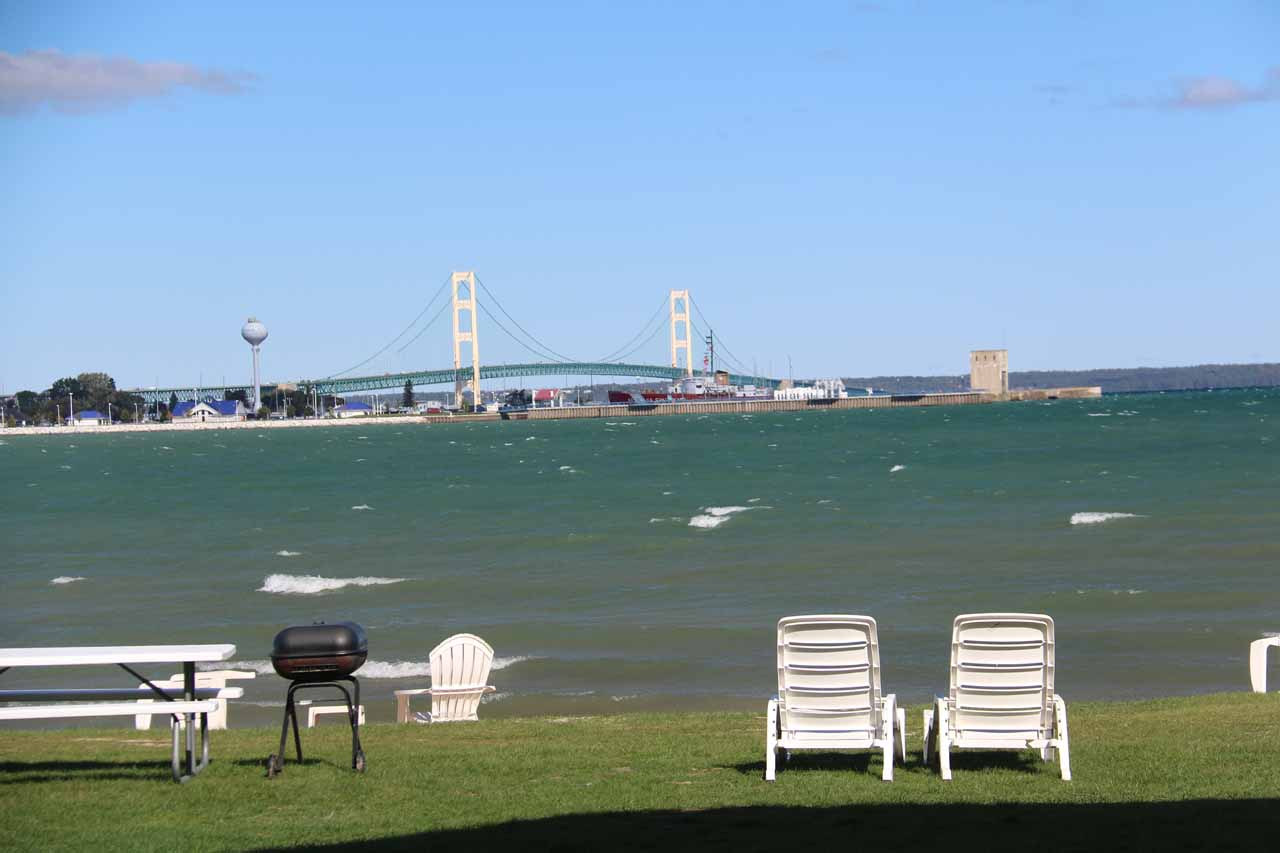 Looking towards the Mackinac Bridge from the Clearwater Motel