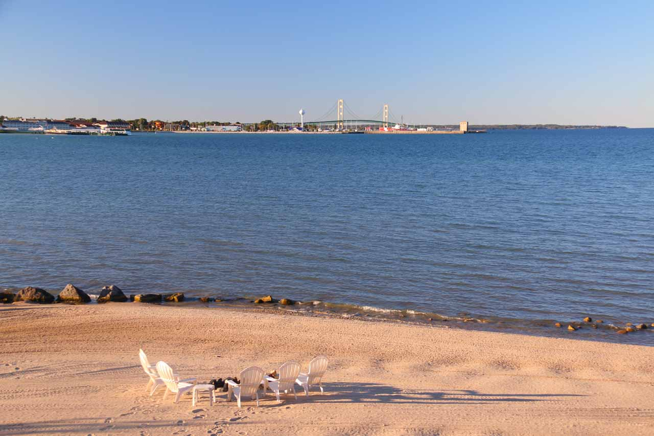 Looking towards Mackinac Bridge from the beach behind our motel in Mackinaw City
