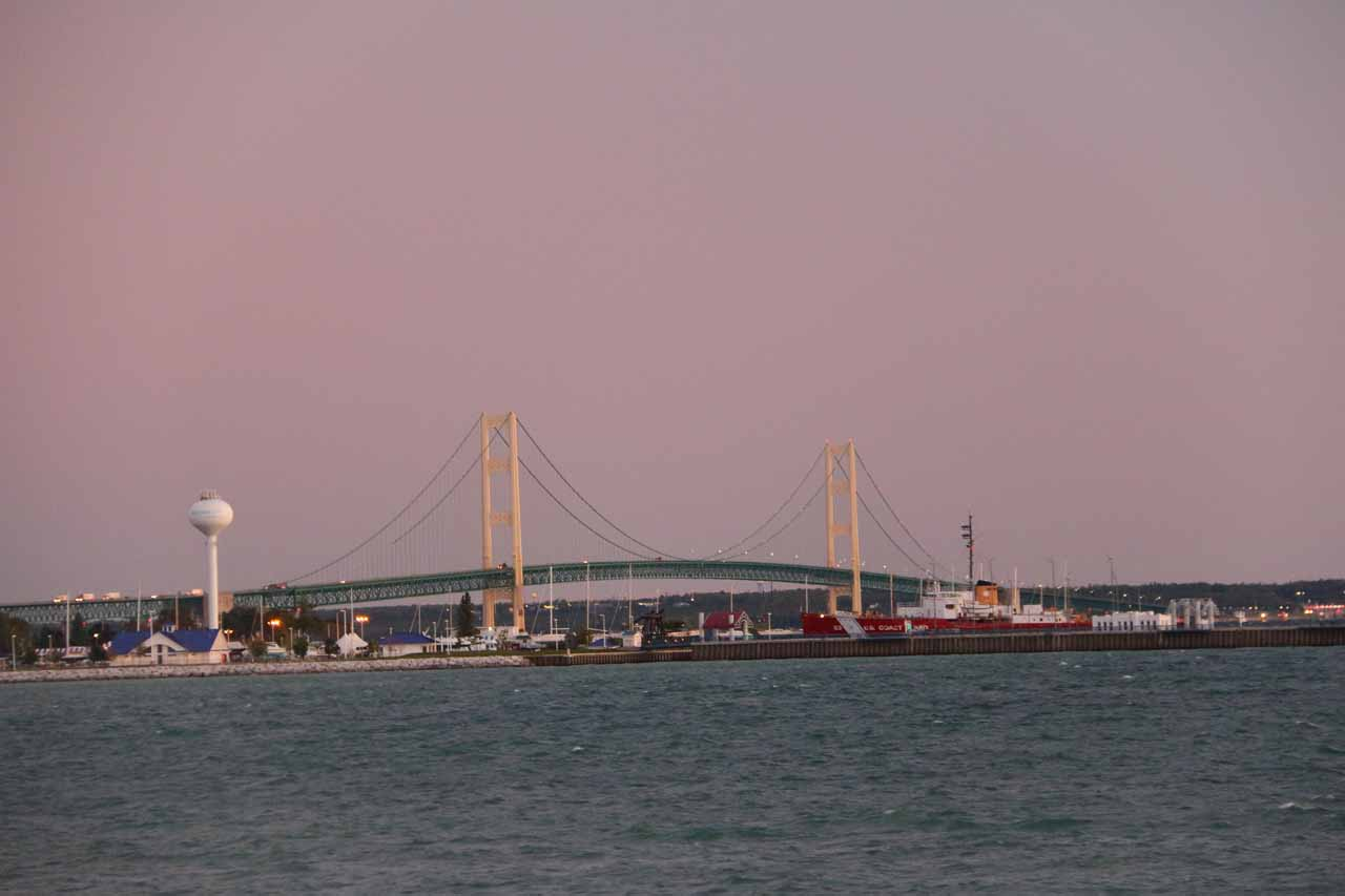 Pre-dawn view of Mackinac Bridge from behind our motel in Mackinaw City