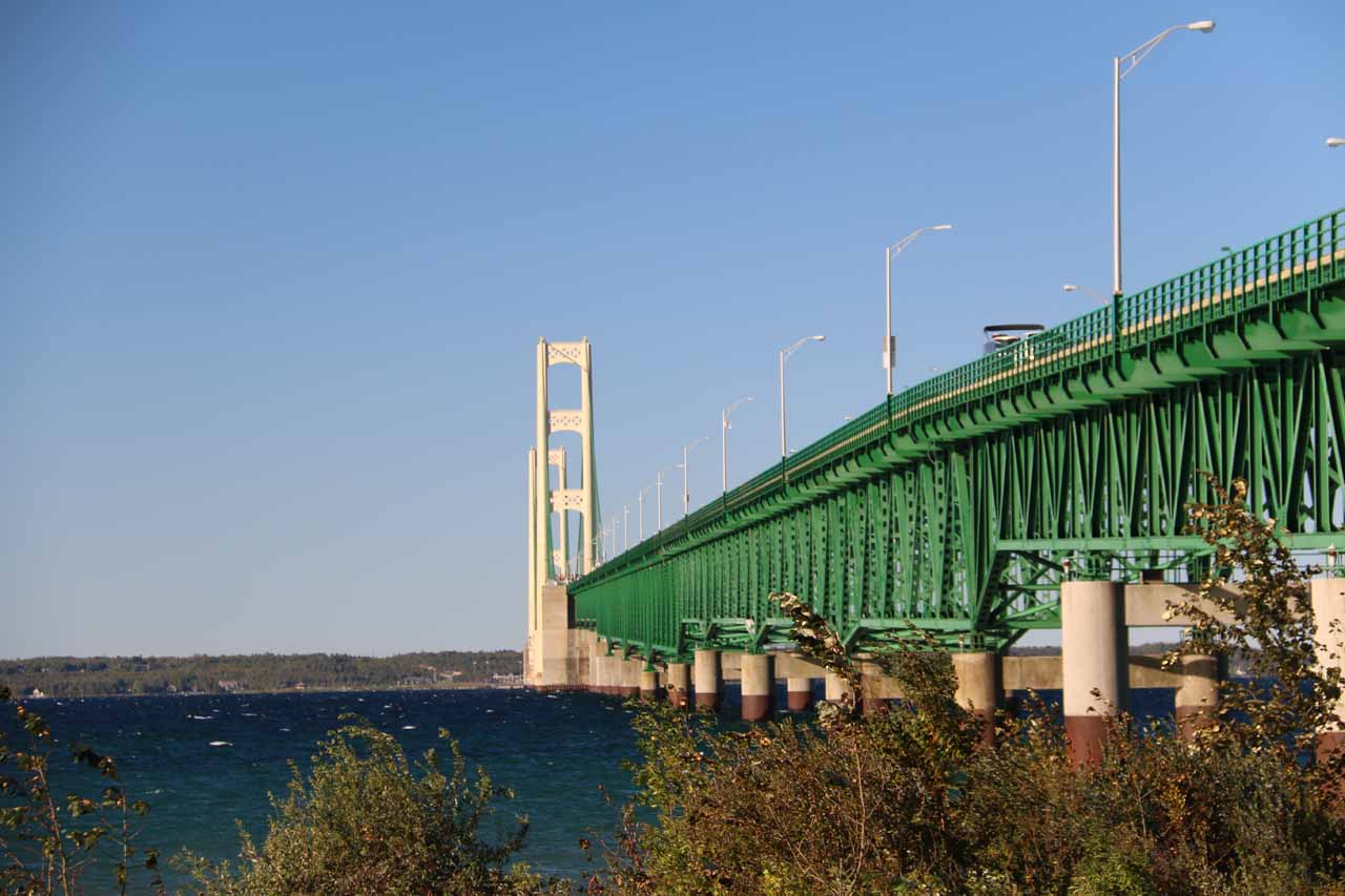 View of the Mackinac Bridge from Colonial Michilimackinac