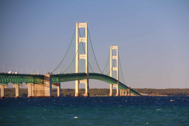 Mackinaw_City_073_10022015 - About 90 minutes drive southeast of Lower Falls was Mackinaw City, which featured the 5-mile Mackinac Bridge between Lake Michigan and Lake Huron as well as some history at Colonial Michilimackinac