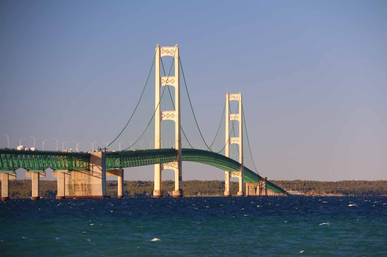 Looking back towards the Mackinac Bridge from the Colonial Michilimackinac