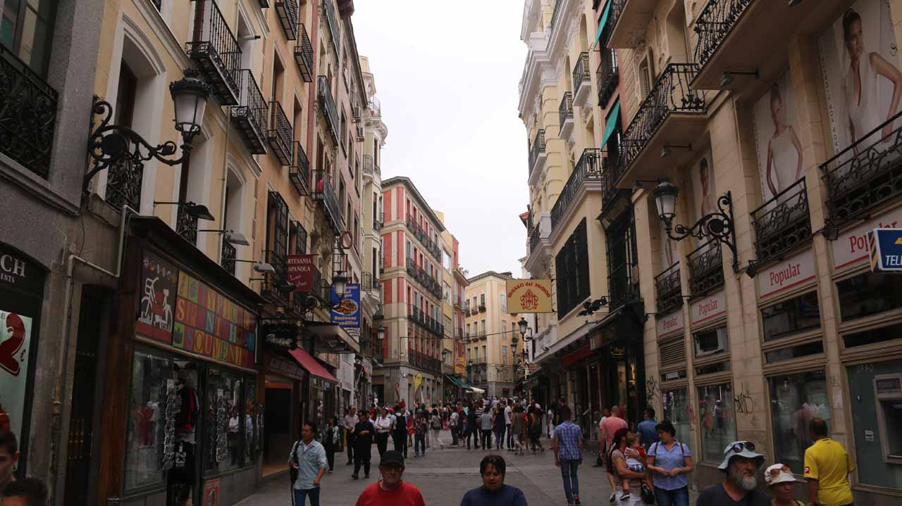 Walking on Calle Mayor towards Plaza Mayor