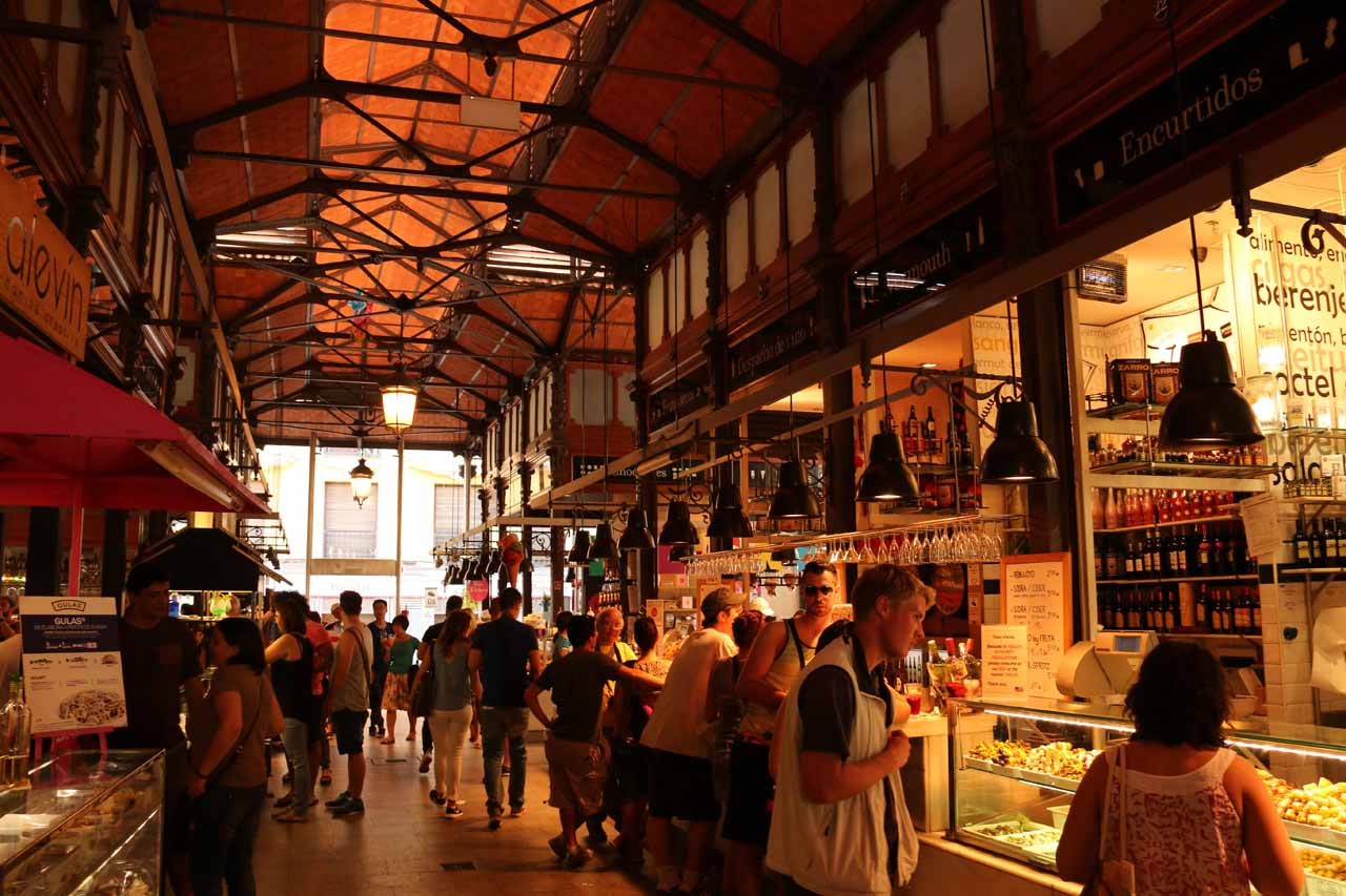 Inside the Mercado San Miguel for late afternoon  tapas and sangrias for lunch