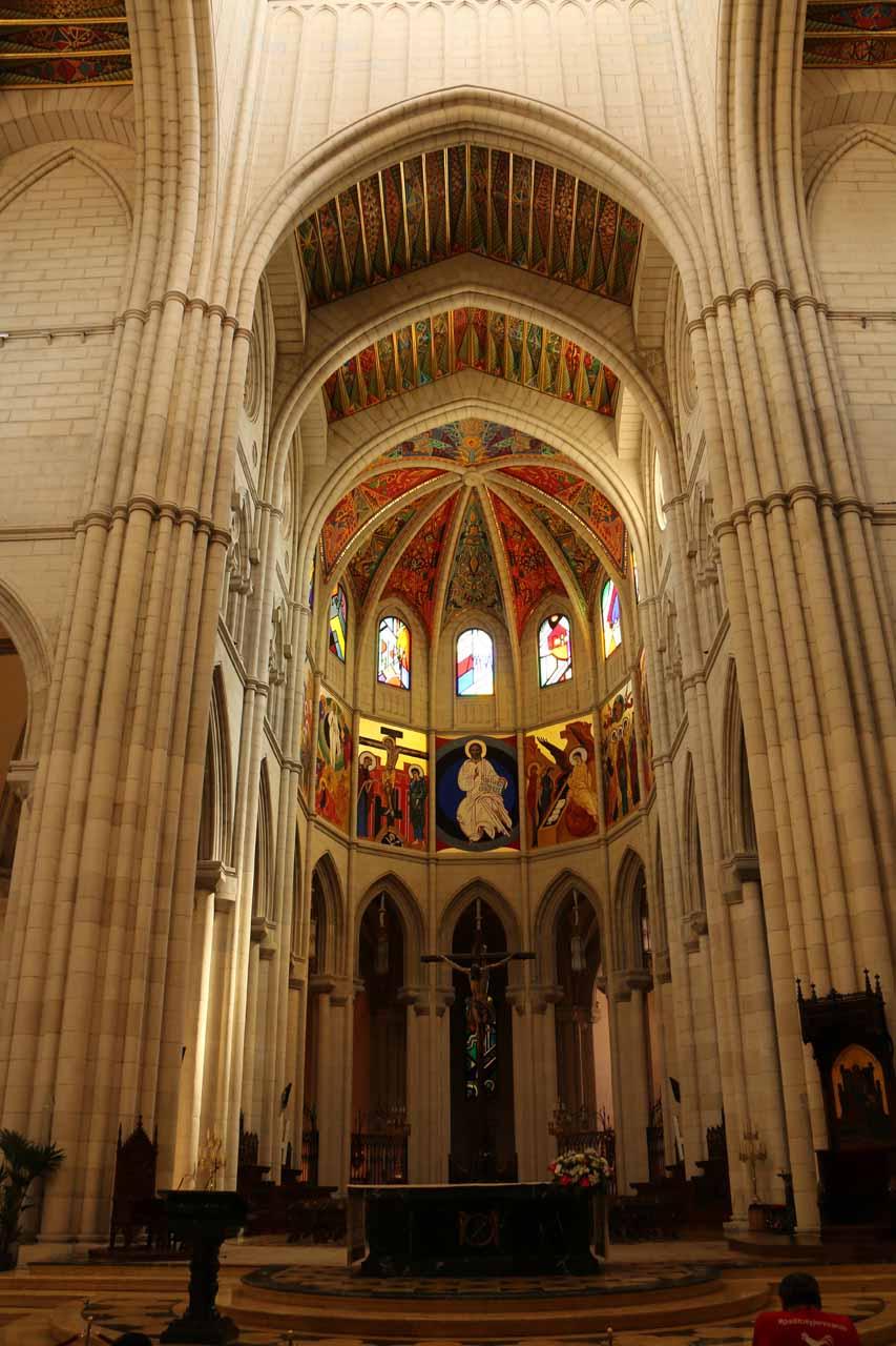Inside the grand interior of the Catedral de la Almudena