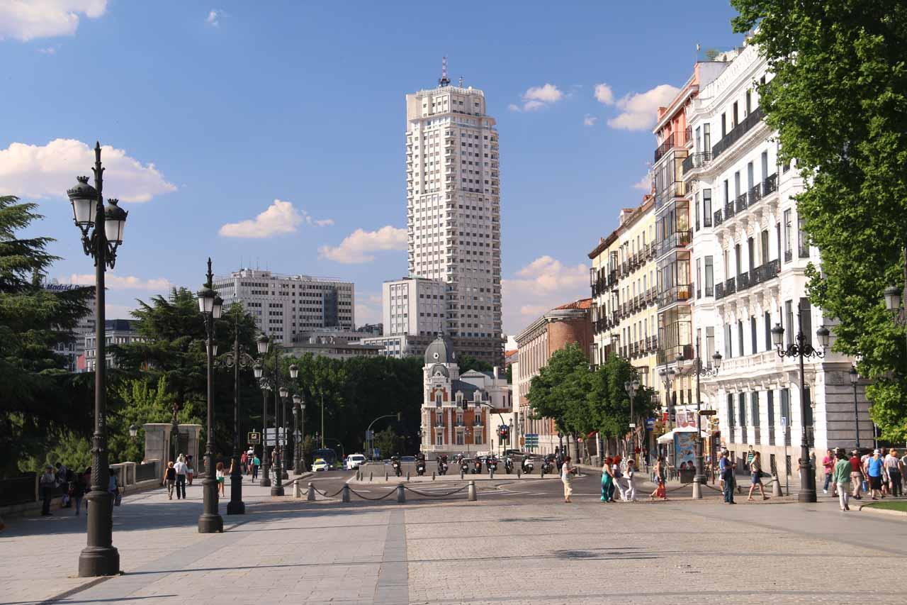 Checking out the buildings north of the Plaza de Oriente along Calle Bailen