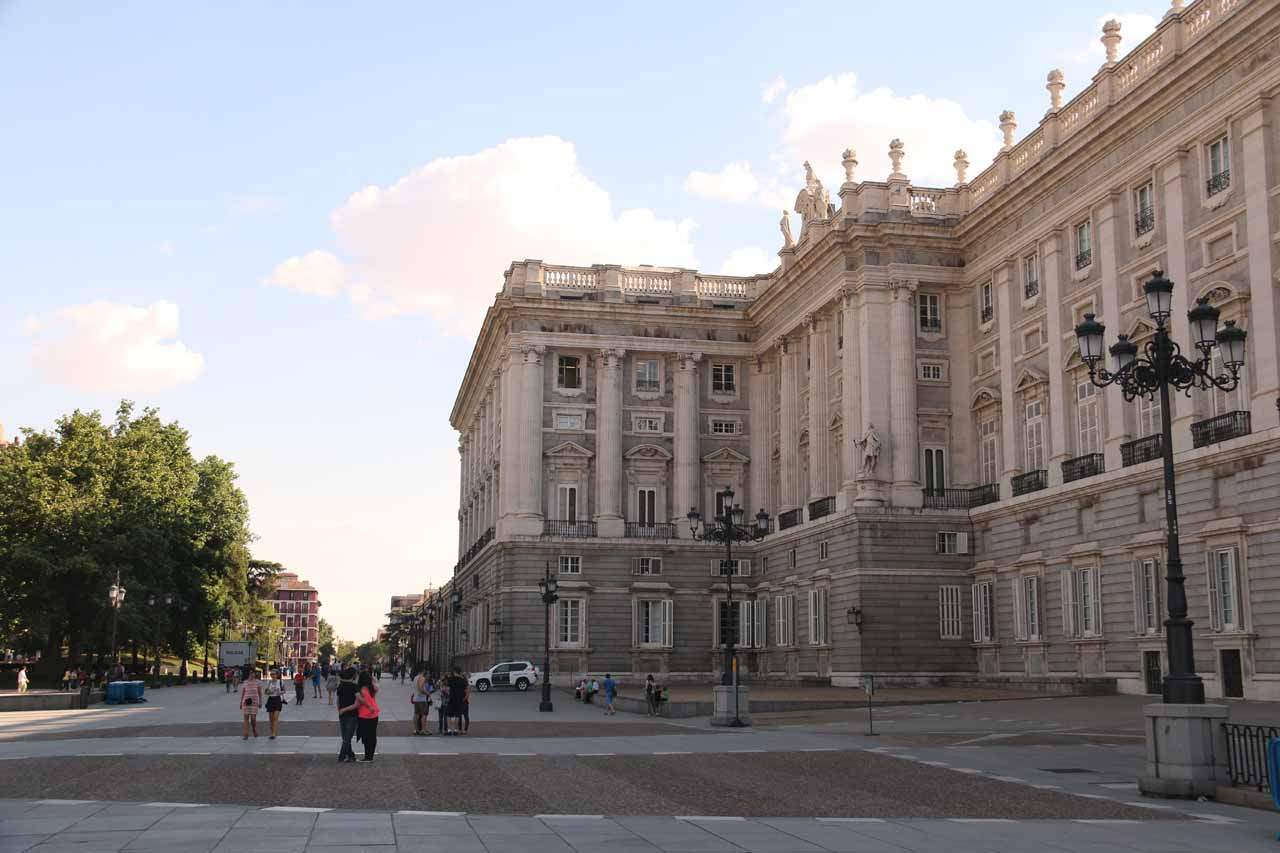 Looking back at walls of the Palacio Real from the Plaza de Oriente