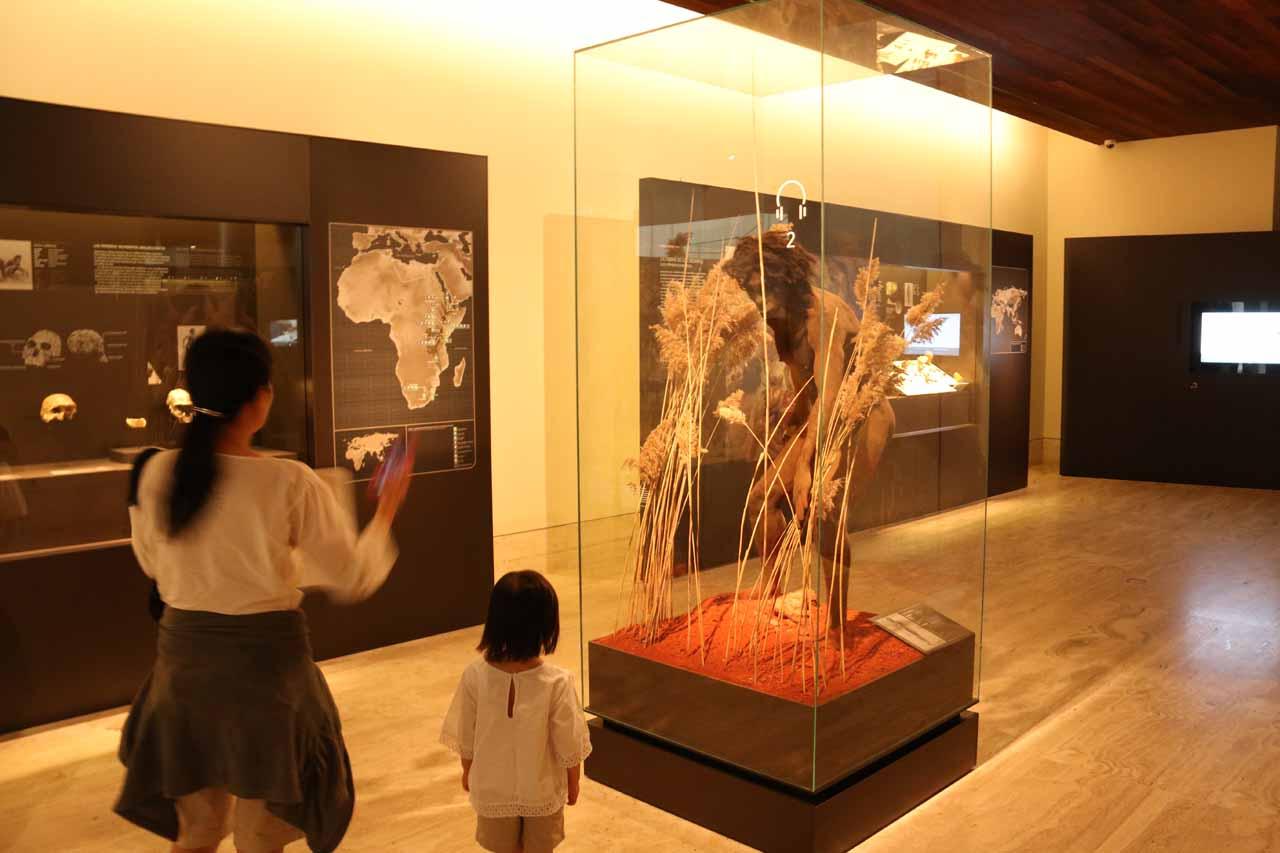 Julie and Tahia enjoying the early man display inside the MAN