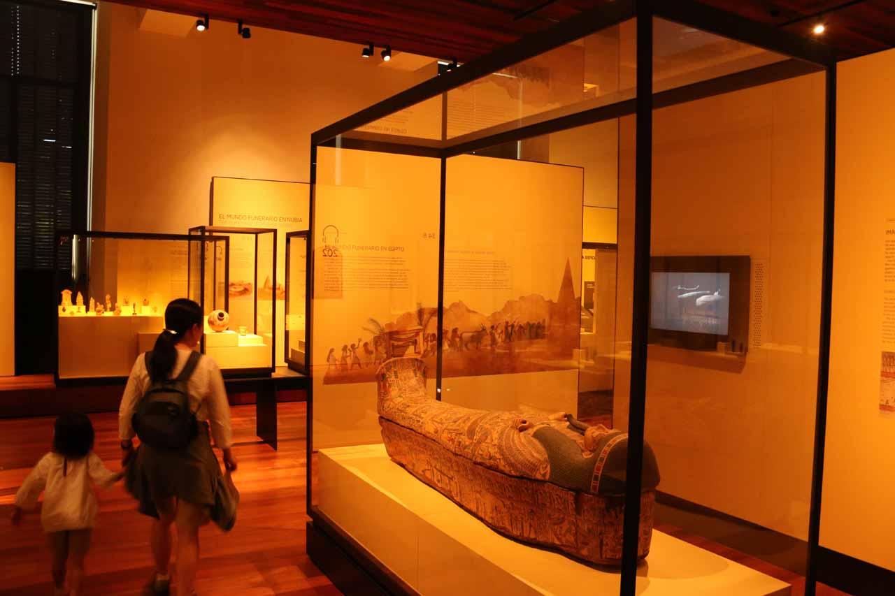 Julie and Tahia enjoying the Egyptian exhibit inside MAN