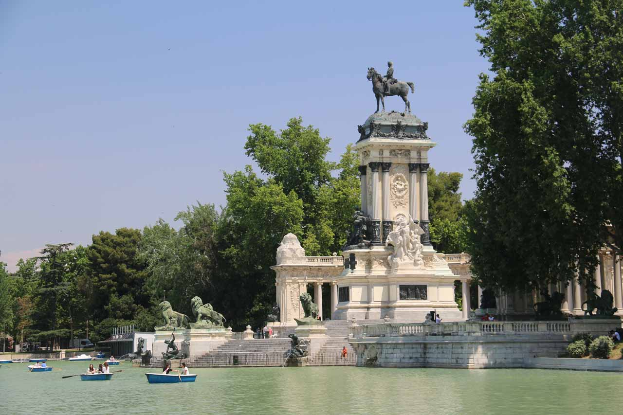 View of the Monumento Alfonso XII from our lunch spot
