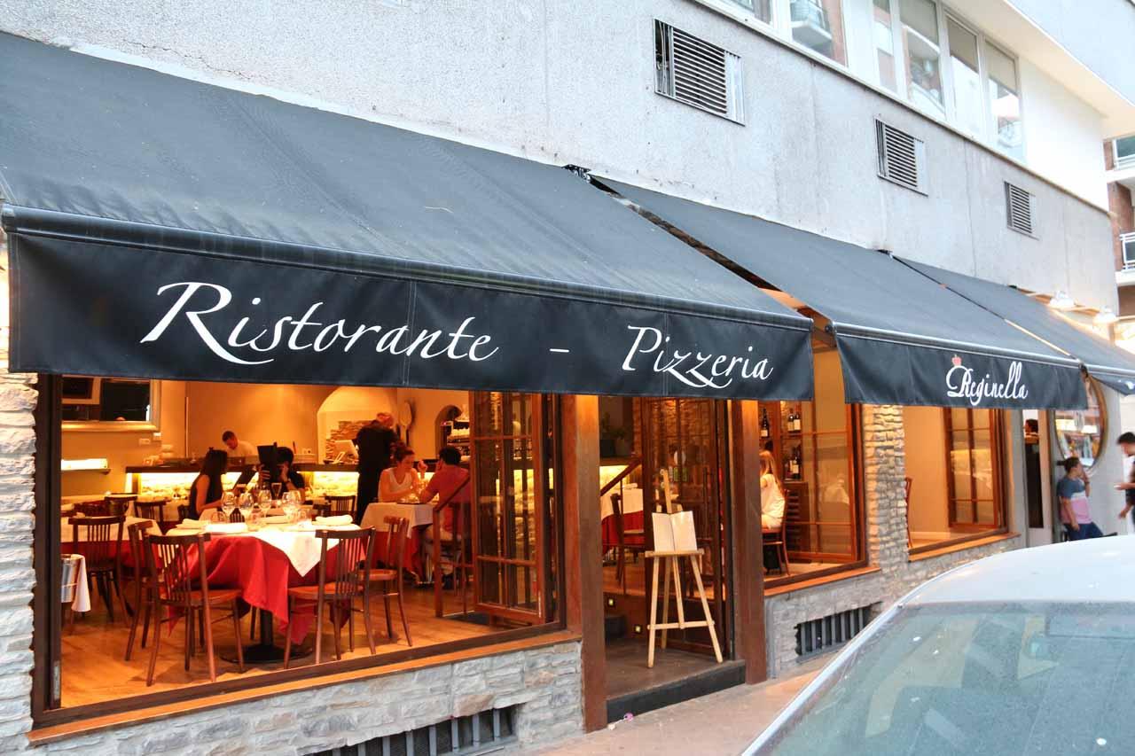 Looking back at the Ristorante - Pizzeria Reginella