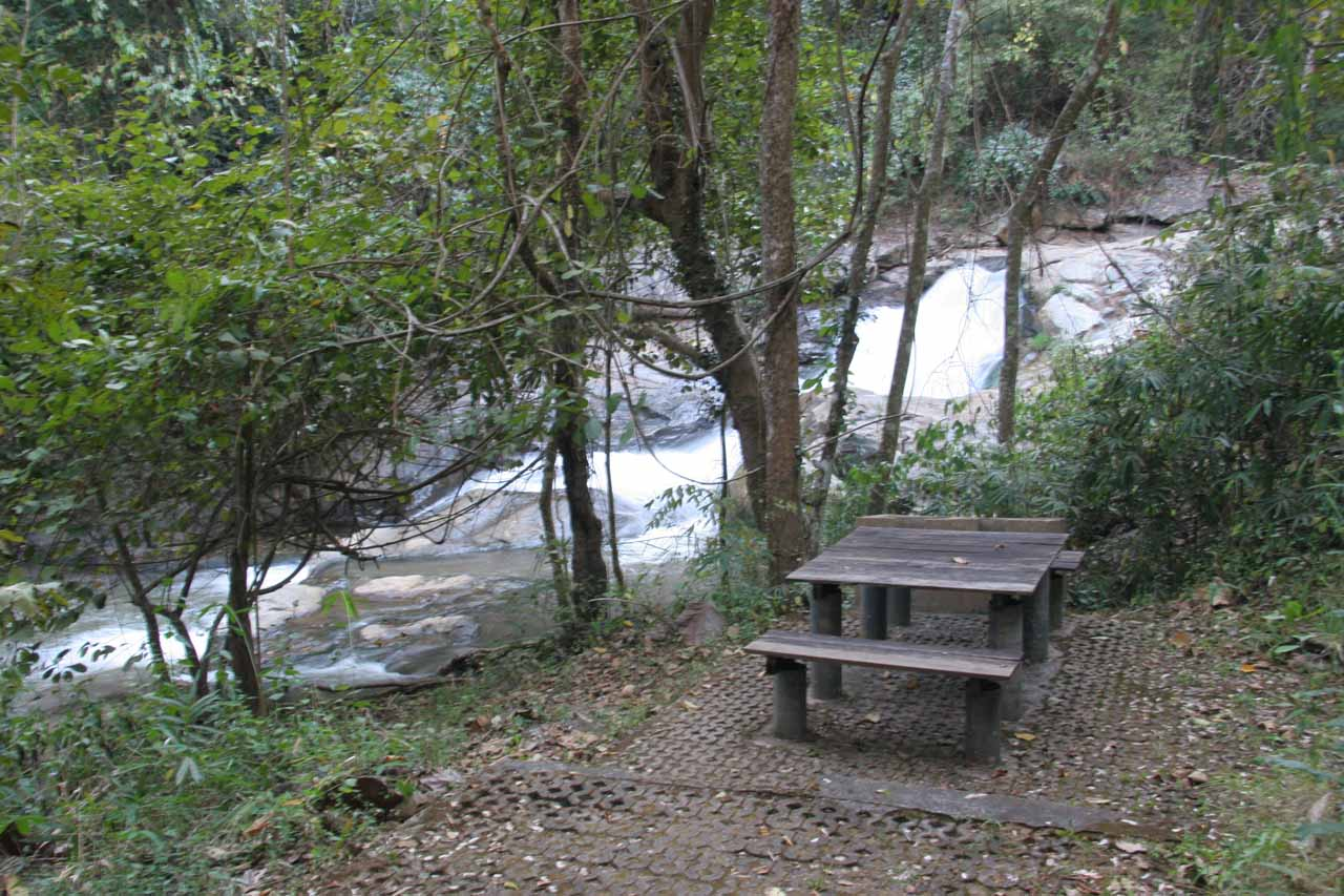 Picnic table overlooking what I think would be the seventh or eighth waterfall