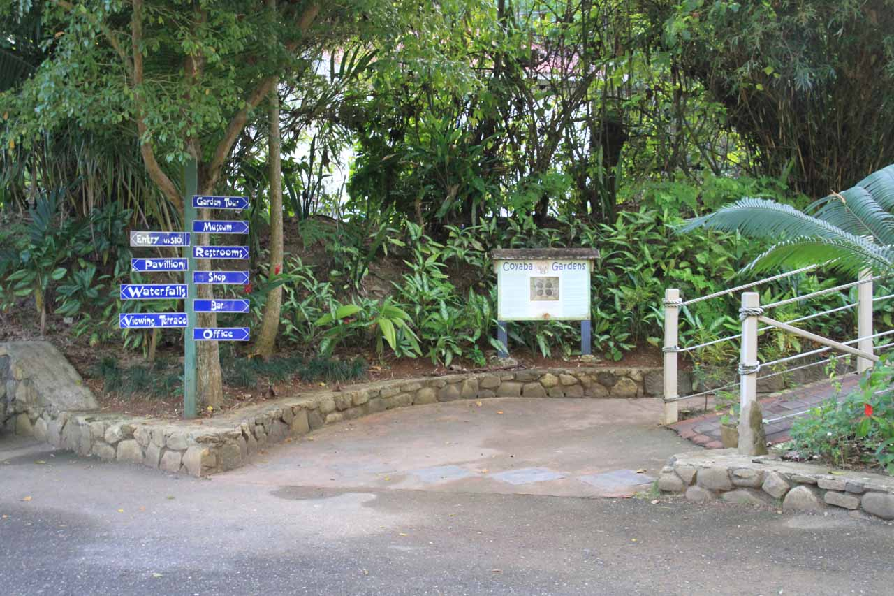 At the entrance to both Coyaba River Gardens and Mahoe Falls